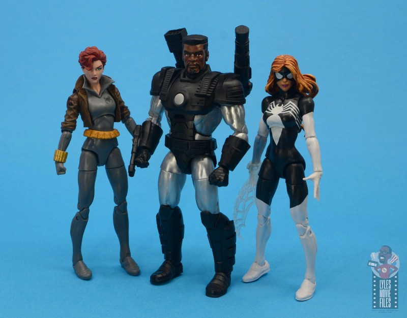marvel legends war machine figure review - unmasked with black widow and spider-woman