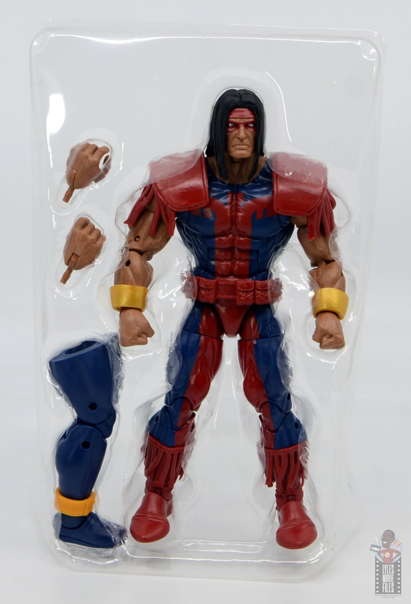 marvel legends warpath figure review - accessories in tray