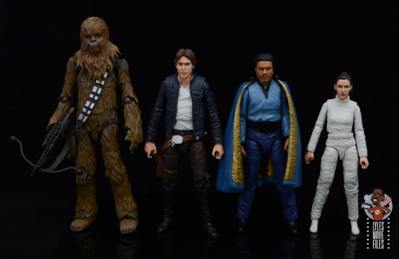 star wars black series lando calrissian empire strikes back figure review - with chewie, han and leia
