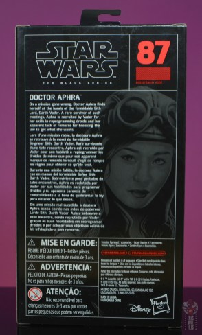 star wars the black series doctor aphra figure review -package rear