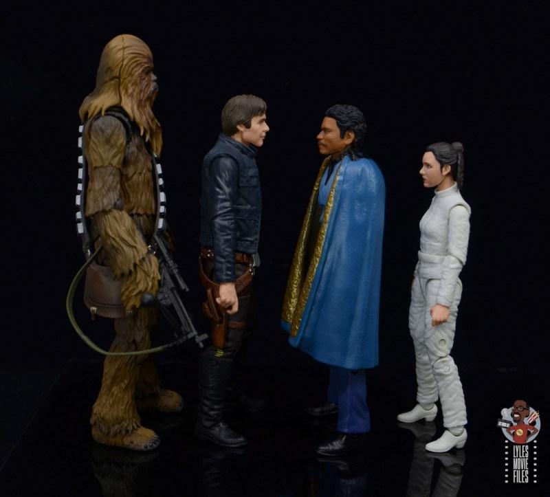 star wars the black series lando calrissian empire strikes back figure review - facing chewie,han,leia