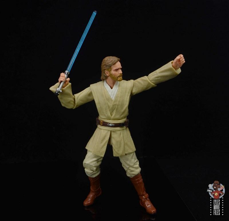 star wars the black series obi-wan kenobi figure review -focusing with lightsaber