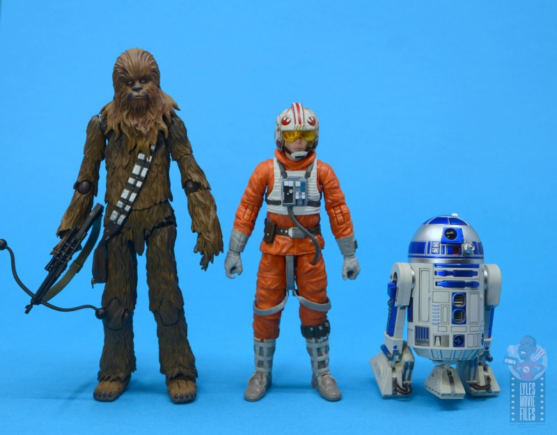 star wars the black series snowspeeder luke skywalker figure review - scale with sh figuarts chewbacca and r2-d2