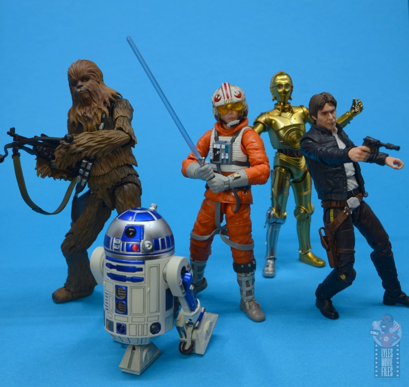 star wars the black series snowspeeder luke skywalker figure review -with sh figuarts chewbacca, r2-d2, c-3p0 and han solo