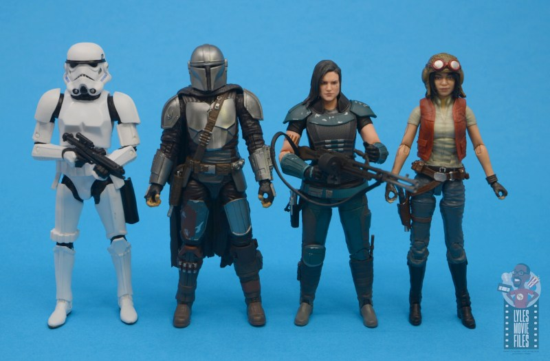 star wars the black series the mandalorian beskar armor figure review - scale with stormtrooper, cara dune and doctor aphra
