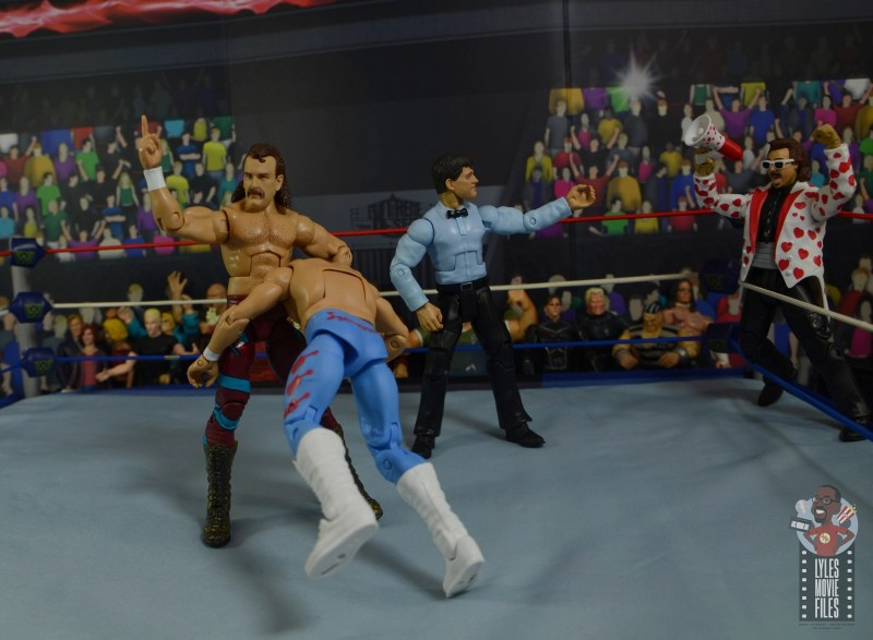wwe legends 8 jake the snake roberts figure review -going for ddt on honky tonk man