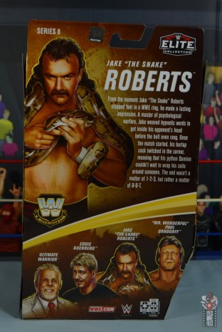 wwe legends 8 jake the snake roberts figure review - package rear