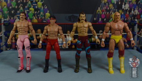 wwe legends 8 jake the snake roberts figure review - scale with rick rude, ricky steamboat and hulk hogan