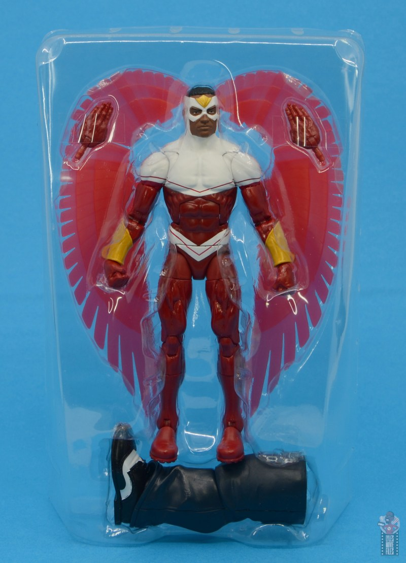 marvel legends falcon figure review - accessories in tray