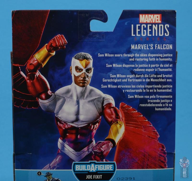 marvel legends falcon figure review - package bio