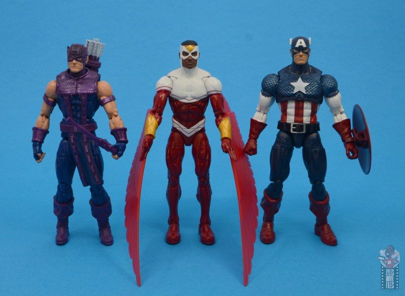 marvel legends falcon figure review - scale with hawkeye and captain america