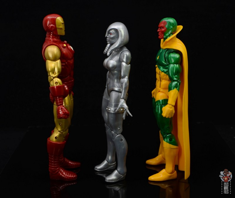 marvel legends jocasta figure review - facing iron man and vision