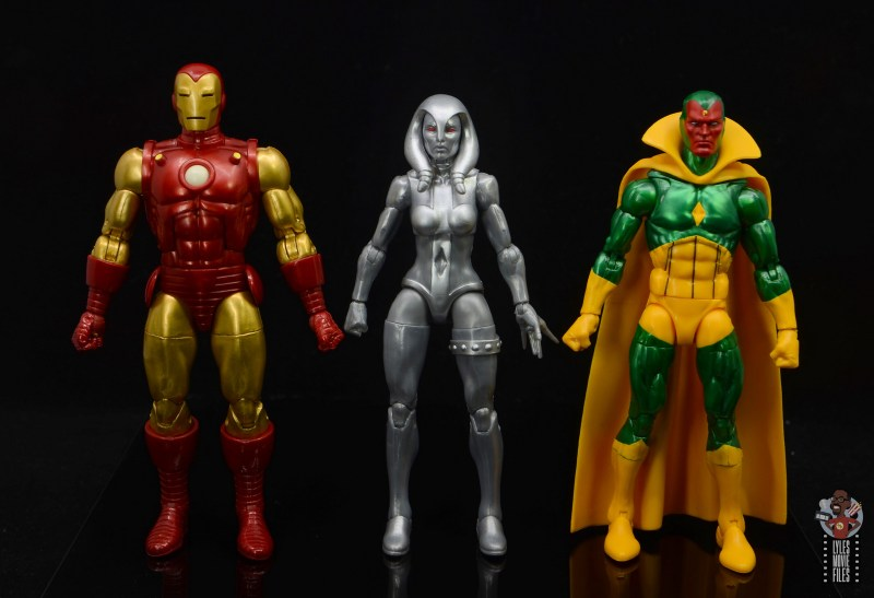 marvel legends jocasta figure review - scale with iron man and vision