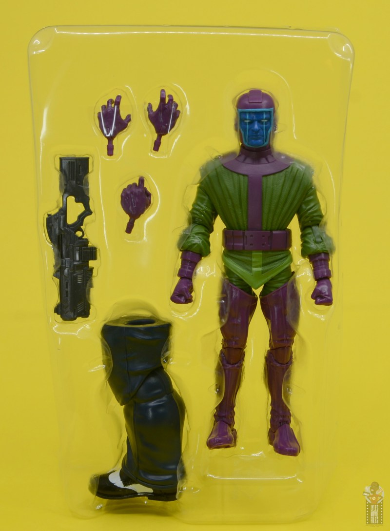 marvel legends kang figure review - accessories in tray
