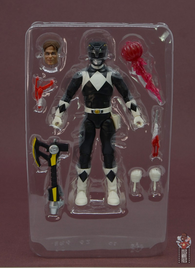 power rangers lightning collection black ranger figure review - accessories in tray
