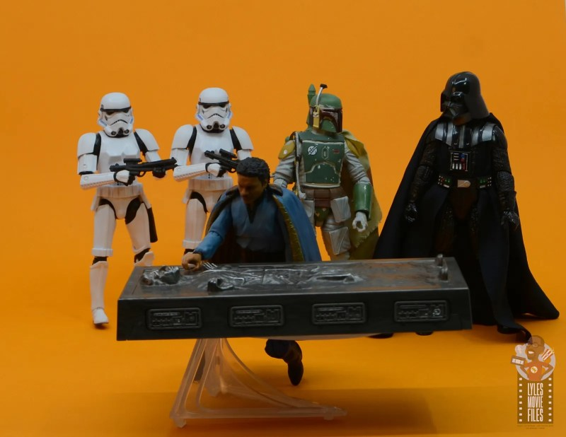 star wars the black series han solo in carbonite figure review - lando checking han while vader and fett look on