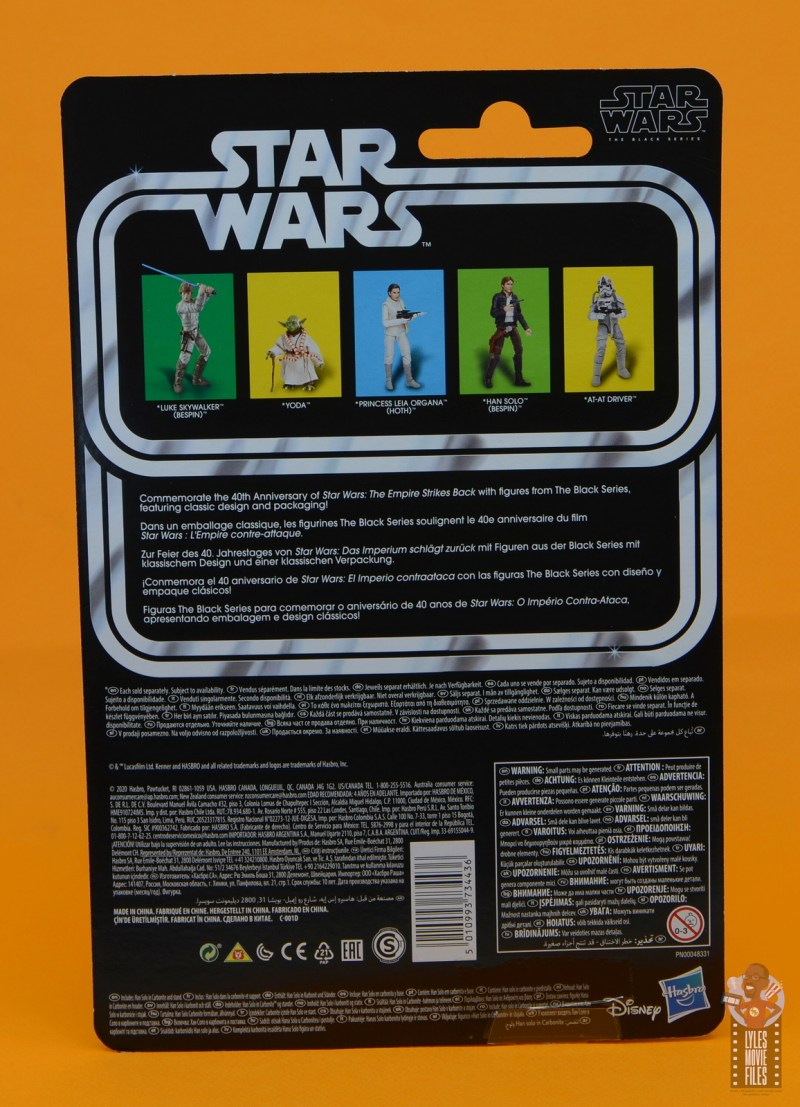 star wars the black series han solo in carbonite figure review - paclage rear
