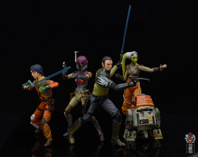 star wars the black series kanan jarrus figure review - in action with ezra, sabine, chopper and hera