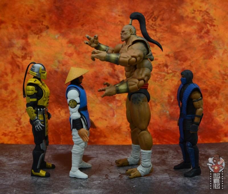 storm collectibles mortal kombat goro figure review - facing cyrax, raiden and sub zero