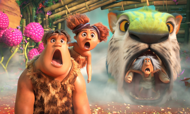 the croods a new age review - thunk, sis and gran