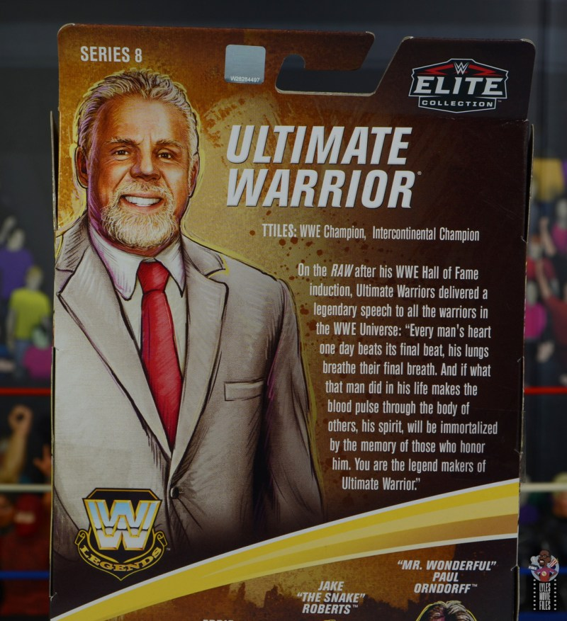 wwe legends series 8 ultimate warrior figure review -package bio