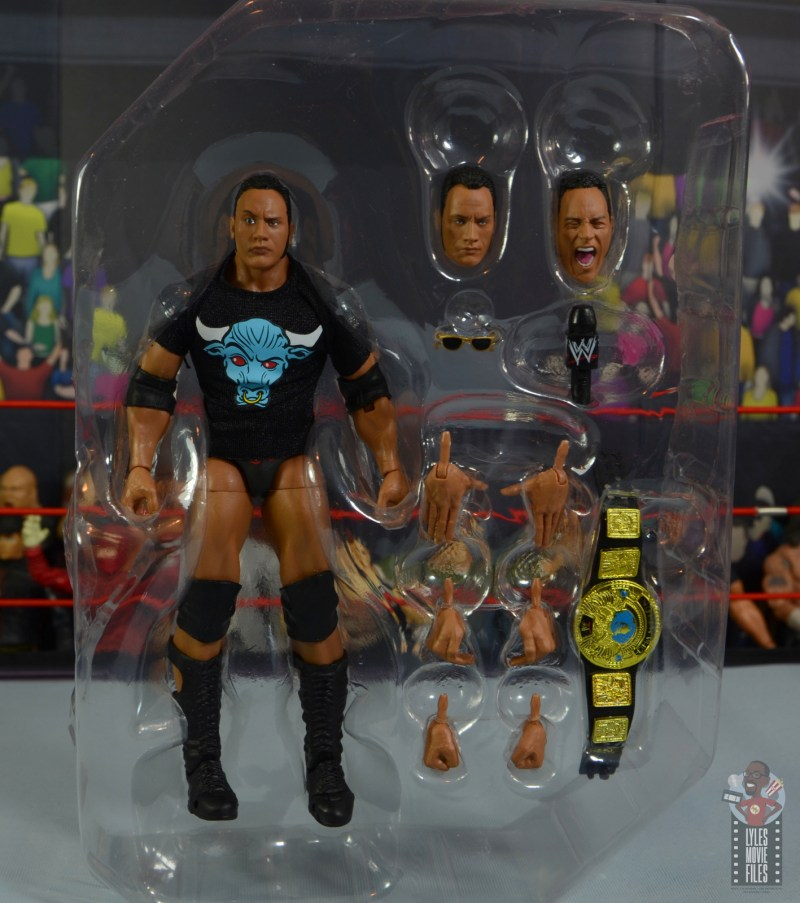 wwe ultimate edition the rock figure review - accessories in tray