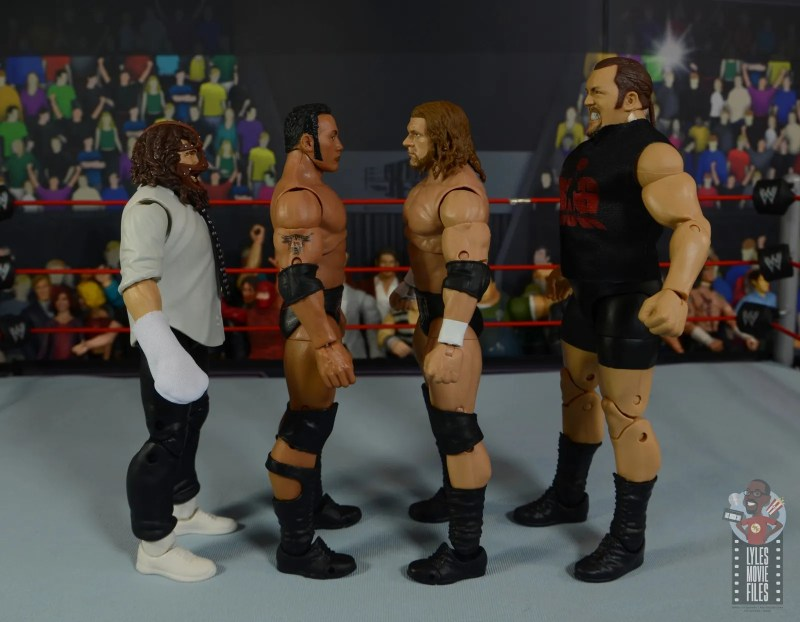 wwe ultimate edition the rock figure review - facing mankind, triple h and the big show