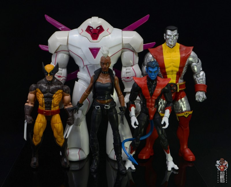 marvel legends nimrod, fantomex and psylocke figure review - nimrod scale with wolverine, nightcrawler, storm and colossus