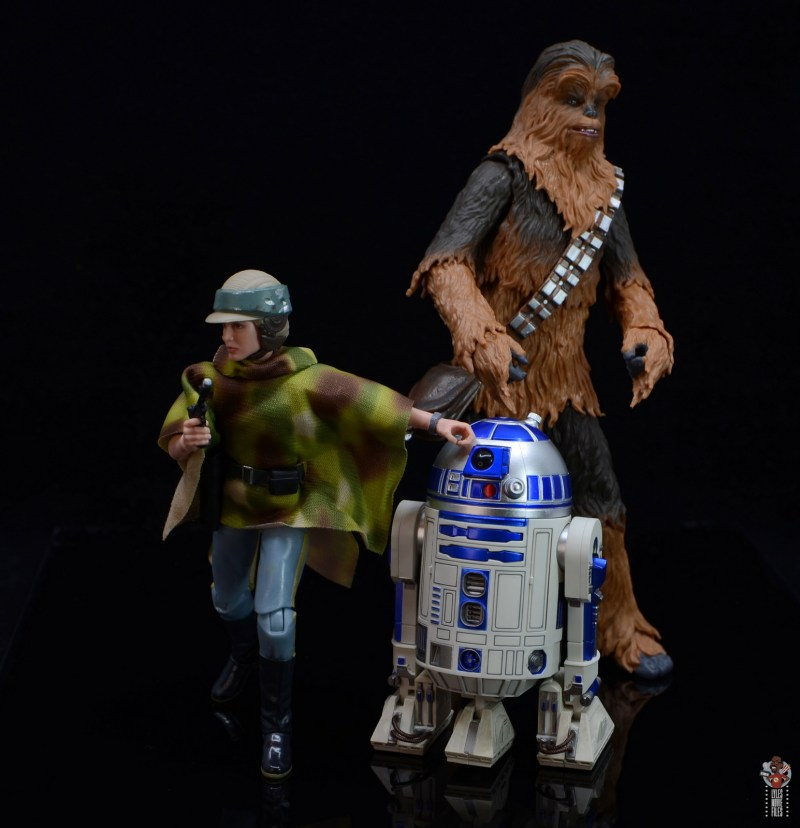 star wars the black series princess leia endor figure review -battle mode with r2-d2 and chewbacca