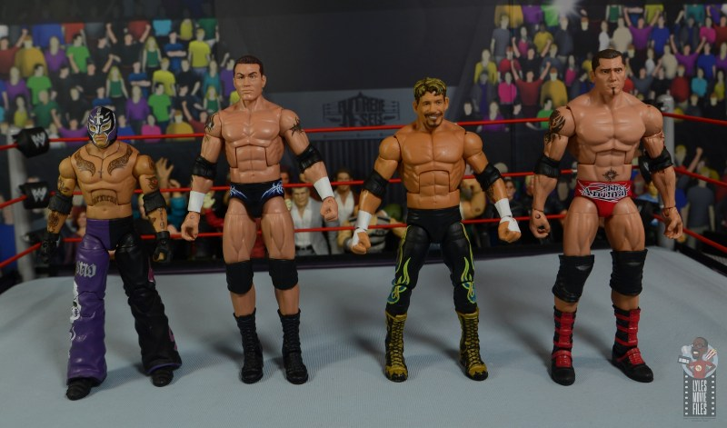 wwe legends series 8 eddie guerrero figure review - scale with rey mysterio, randy orton and batista