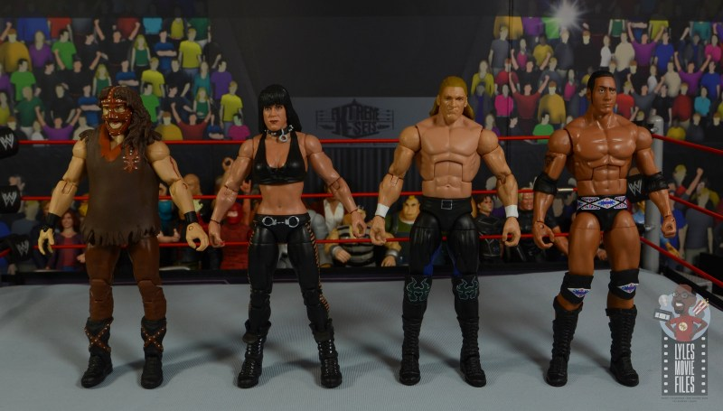 wwe triple h and chyna figure set review - scale with mankind and the rock