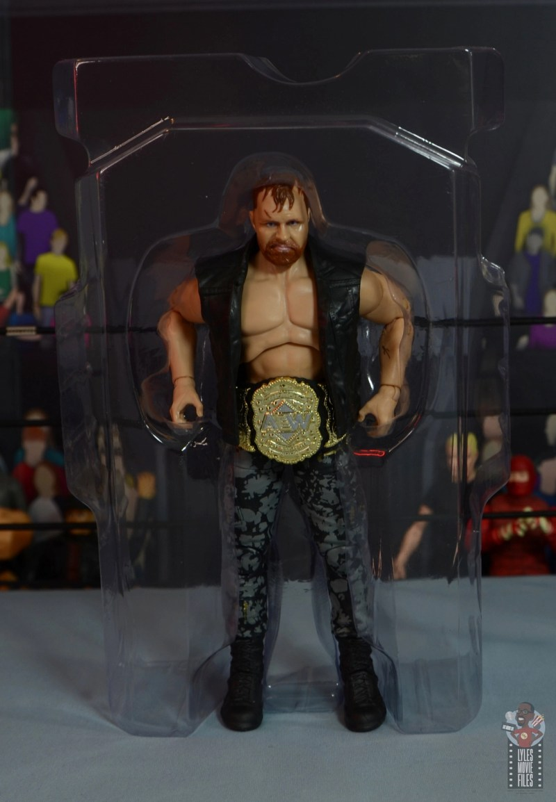 aew unrivaled jon moxley figure review -accessories in tray