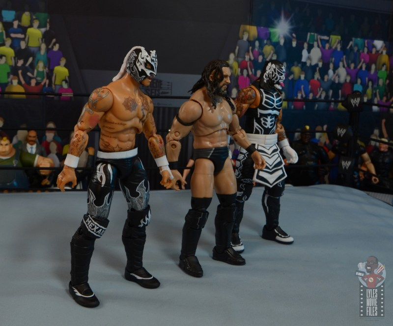 aew unrivaled rey fenix figure review - death triangle lined up
