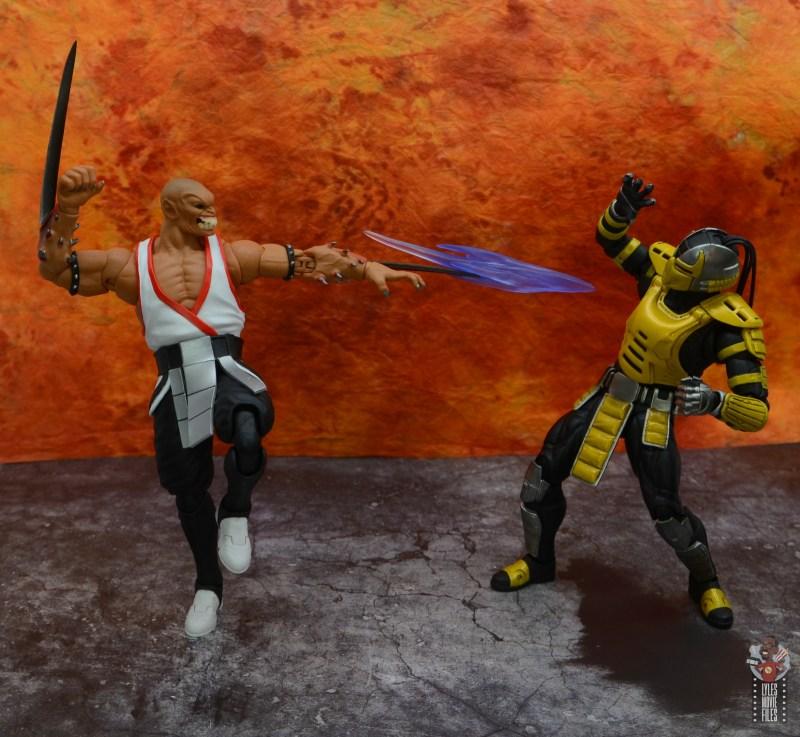 storm collectibles mortal kombat baraka figure review - blade spark on cyrax