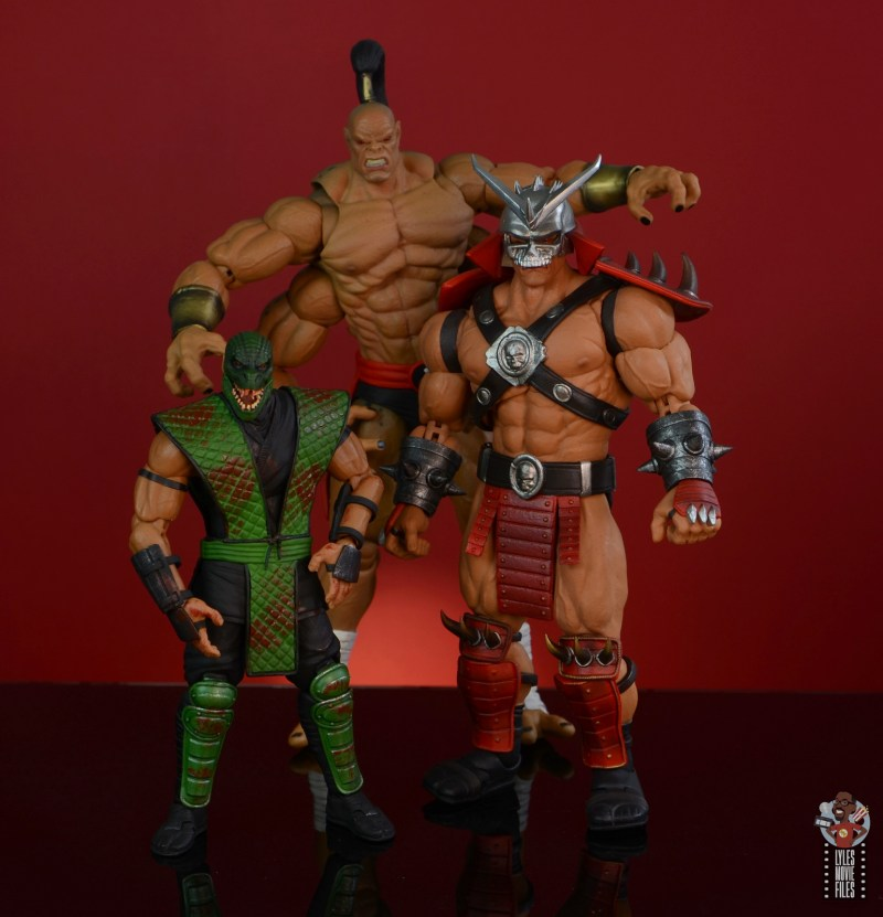 storm collectibles mortal kombat reptile figure review - with gorgo and shao khan