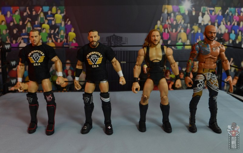 wwe elite 75 pete dunne figure review - scale with kyle o'reilly, bobby fish and riccochet