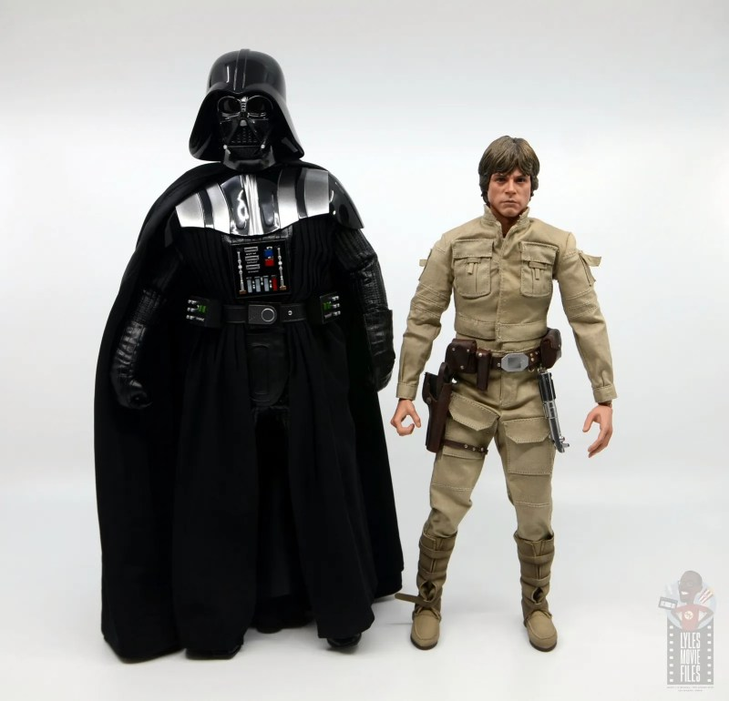 hot toys empire strikes back darth vader figure review - scale with luke skywalker