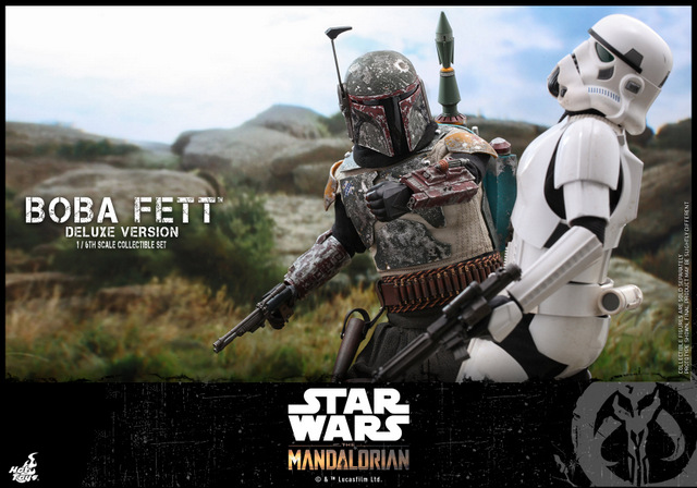 hot toys the mandalorian boba fett figure -punching stormtrooper
