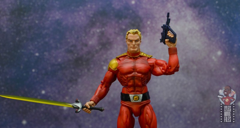 neca defenders of the earth flash gordon figure review - with sword and blaster
