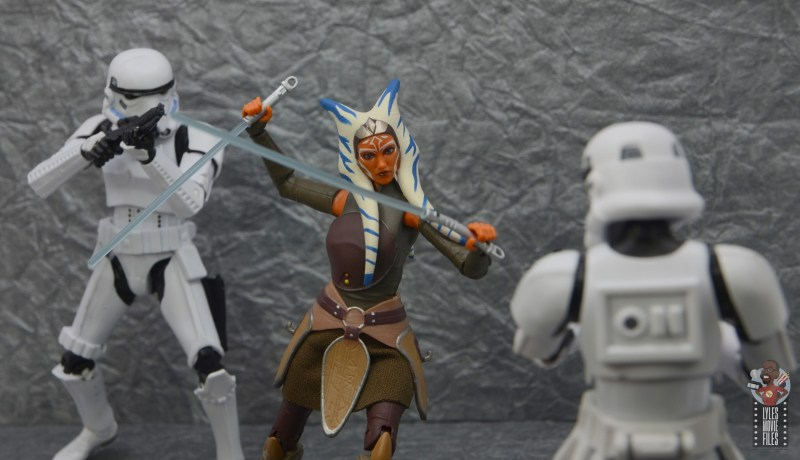 star wars the black series ahsoka tano figure review - battling stormtroopers