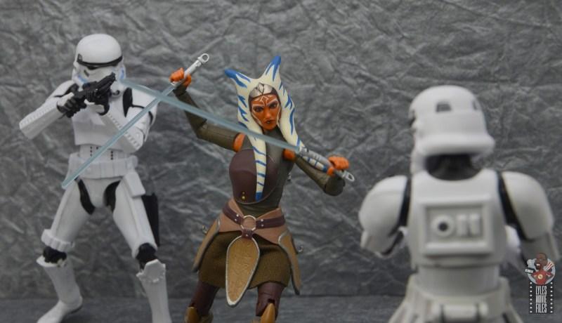 star wars the black series ahsoka tano figure review - battling stormtroopers