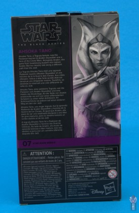 star wars the black series ahsoka tano figure review - package rear