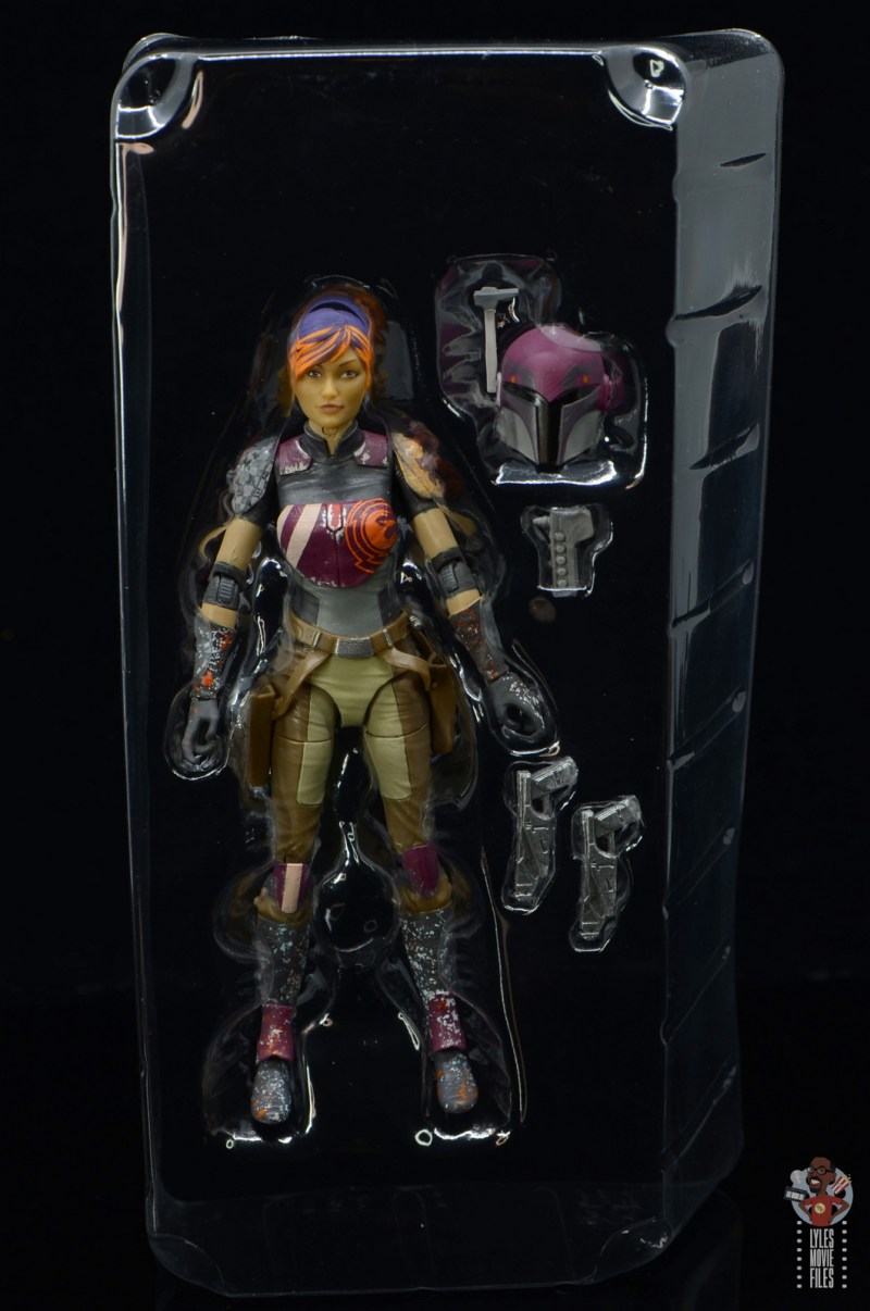star wars the black series sabine wren figure review - accessories in tray