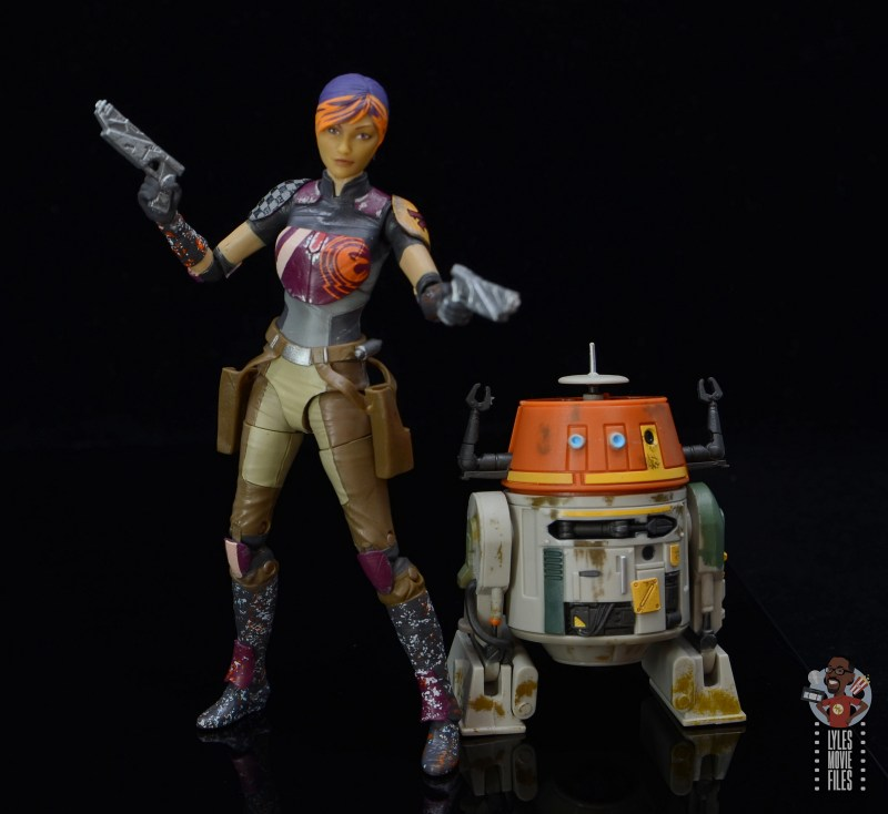 star wars the black series sabine wren figure review - in action with chopper