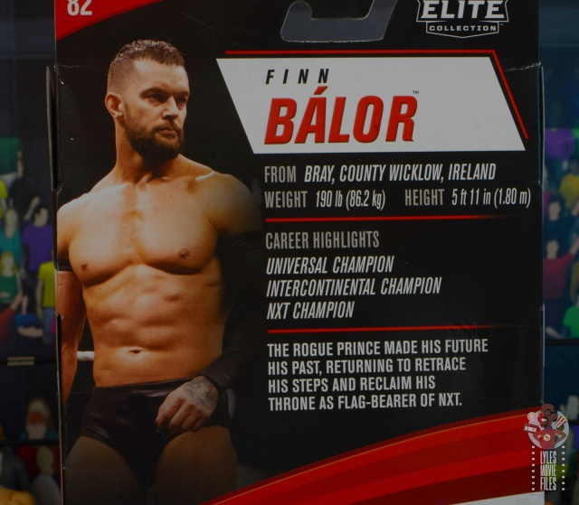 wwe elite 82 finn balor figure - package bio