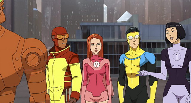 invincible review - robot,rex splode, eve, invincible and duplicate