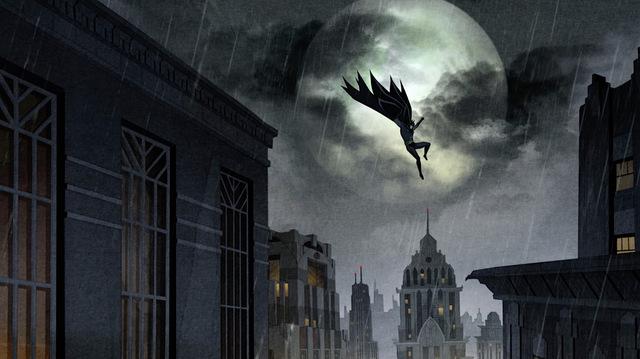 batman the long halloween part one review - batman on rooftop