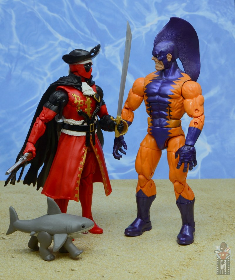 marvel legends pirate deadpool review - face off with tiger shark