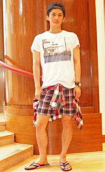 チェックのひざ上丈のショートパンツ×白のTシャツ×チェックのシャツ×キャップ×サンダル
