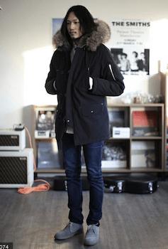 N-3Bジャケット×スウェット×デニムパンツ×靴